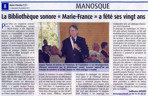 Article du journal Haute-Provence Info du 18 octobre 2013