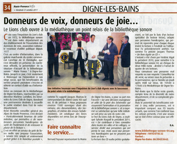 Article du journal Haute-Provence Info du 21 octobre 2011